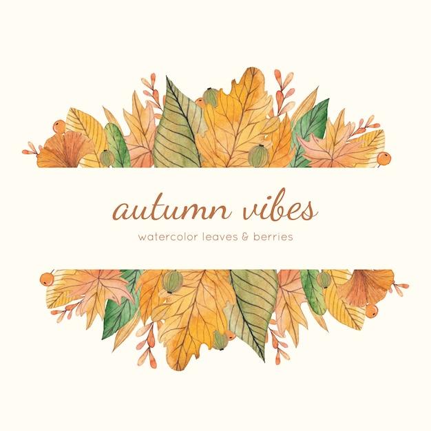 Struttura gialla e verde di autunno dell'acquerello Vettore Premium