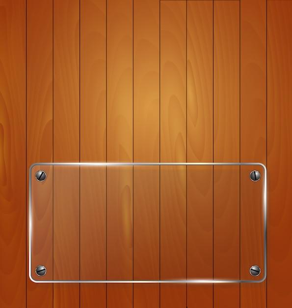 Struttura in legno con sfondo struttura in vetro. illustrazione vettoriale Vettore Premium