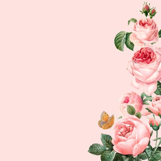 Struttura rosa disegnata a mano delle rose sul fondo di rosa pastello Vettore gratuito