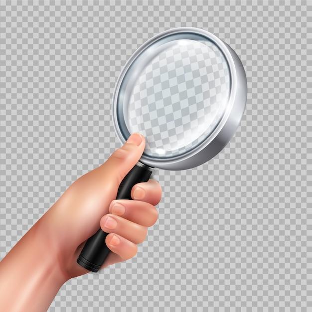 Struttura rotonda classica del metallo della lente d'ingrandimento in mano umana contro l'immagine trasparente del primo piano realistica Vettore gratuito
