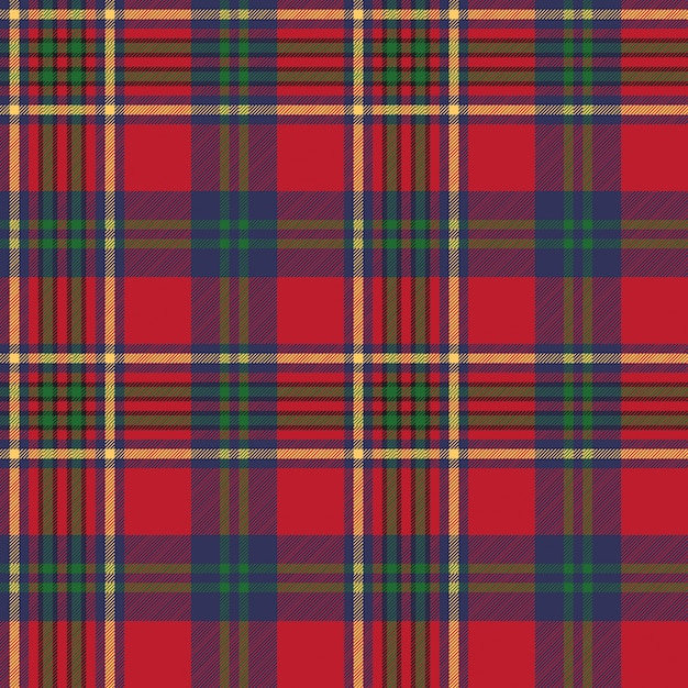 Struttura senza cuciture del tessuto del controllo scozzese classico rosso verde Vettore Premium