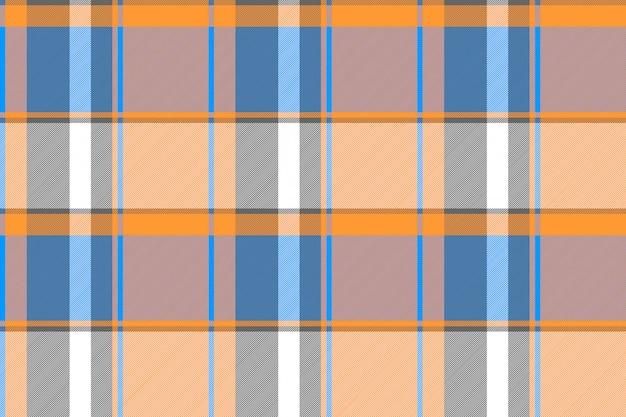 Struttura senza cuciture del tessuto del plaid moderno blu arancio Vettore Premium