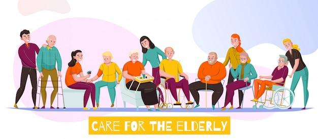 Strutture di cura senior della scuola materna per l'illustrazione orizzontale piana di vettore dell'insegna di assistenza di attività quotidiane dei residenti disabili anziani Vettore gratuito