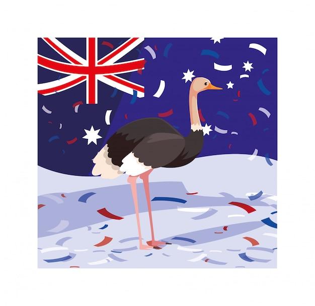 Struzzo con bandiera australia Vettore Premium