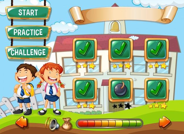 Studente al modello di gioco della scuola Vettore gratuito