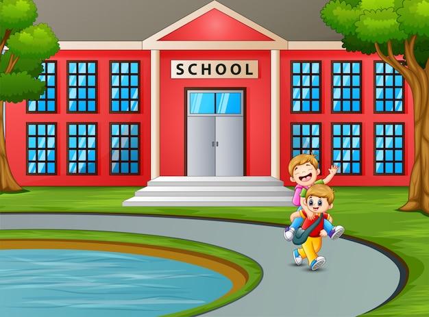 Studente che torna a casa dopo la scuola Vettore Premium