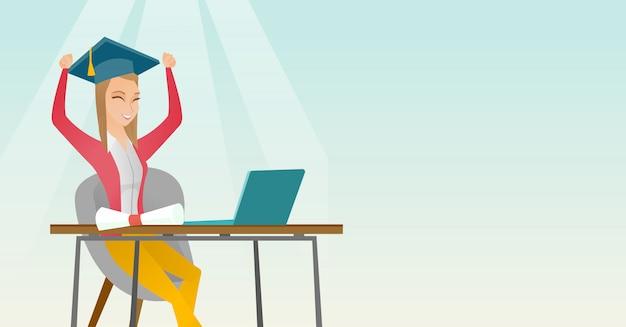 Studente che utilizza computer portatile per l'istruzione. Vettore Premium