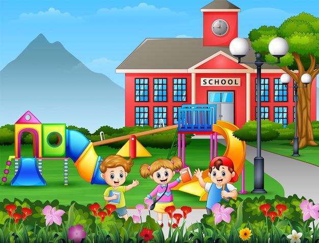 Studente di fumetto che gioca al cortile della scuola Vettore Premium