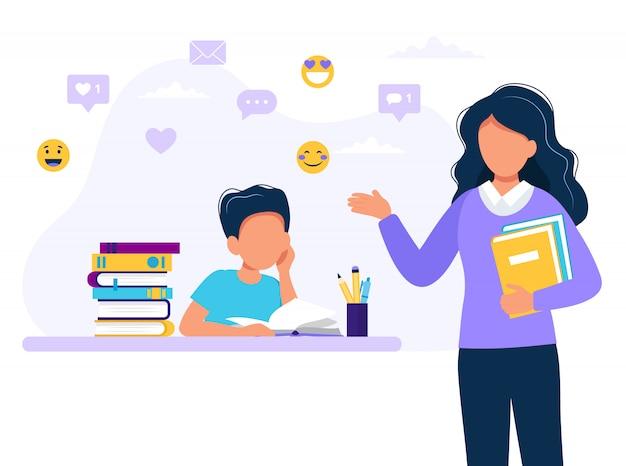 Studente e insegnante di sesso femminile. Vettore Premium