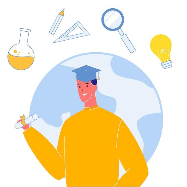 Studente in illustrazione vettoriale tappo di laurea Vettore Premium