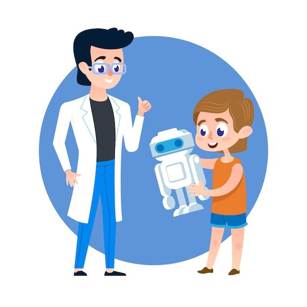 Studente kid con robot e giovane insegnante. Vettore Premium