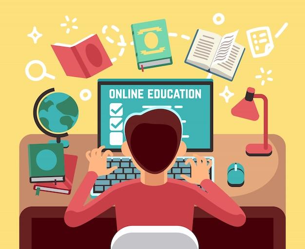 Studente o ragazzo di scuola studiando sul computer. concetto di vettore di lezioni e formazione online. studente al computer, illustrazione di educazione online allievo Vettore Premium