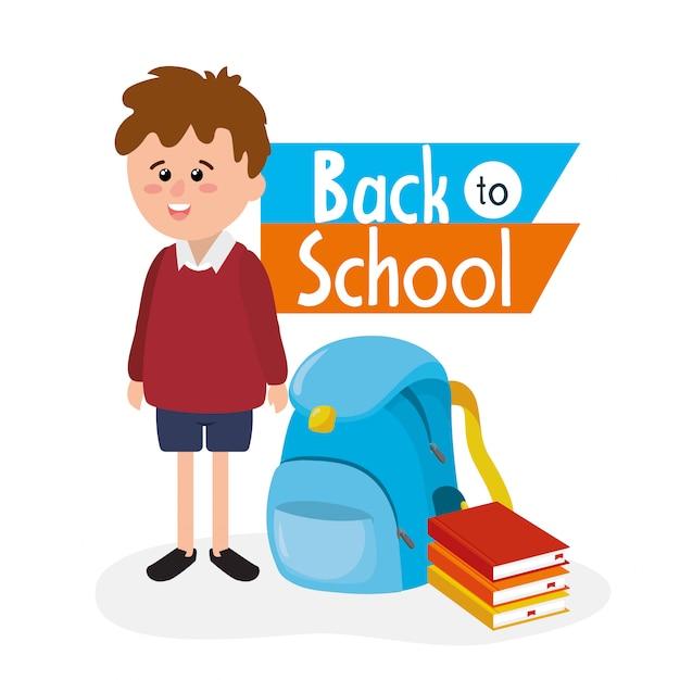 Studente ragazzo con zaino e libri utensili Vettore Premium