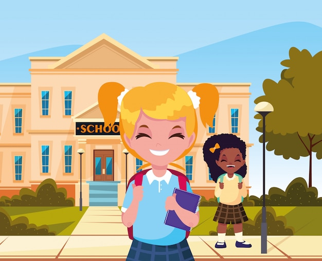 Studentessa fuori edificio torna a scuola Vettore Premium