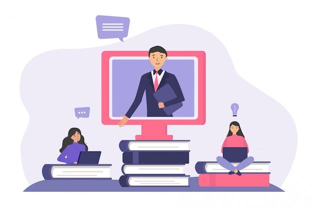 Studenti che studiano online Vettore gratuito