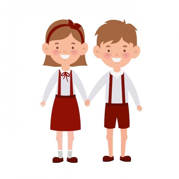 Studenti delle coppie che stanno sorridenti Vettore Premium
