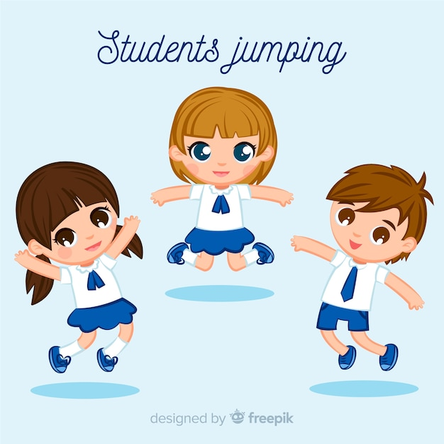 Studenti felici saltando con design piatto Vettore gratuito