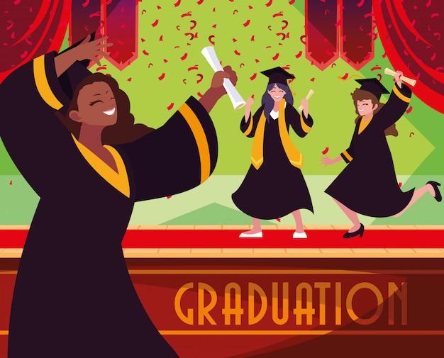 Studenti laureandi in festa Vettore Premium