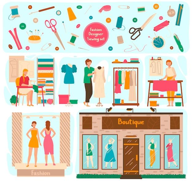Studio dello stilista, donna che fa vestito per il boutique, illustrazione Vettore Premium