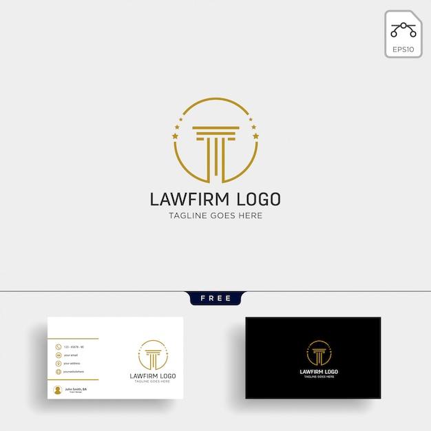 Studio legale, avvocato modello logo creativo con biglietto da visita Vettore Premium