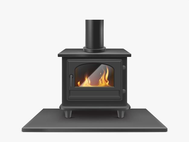 Stufa a legna, camino in ferro con il fuoco all'interno isolato, sistema di riscaldamento tradizionale all'interno in stile moderno. attrezzatura domestica illustrazione realistica di vettore 3d, clipart Vettore gratuito