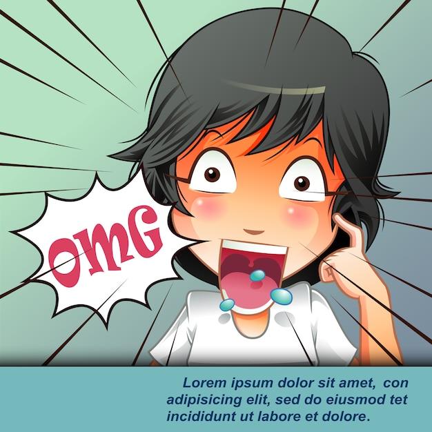 Stupito giovane con la bocca aperta in stile cartone animato