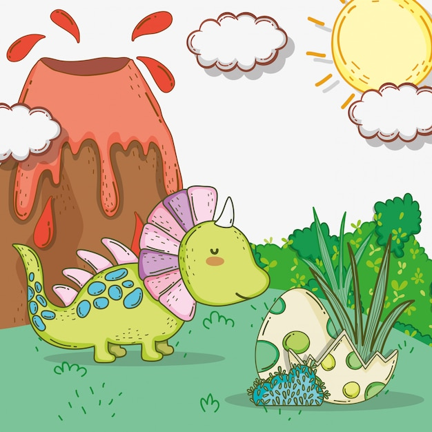 Styracosaurus carino con uova di dino e vulcano Vettore Premium