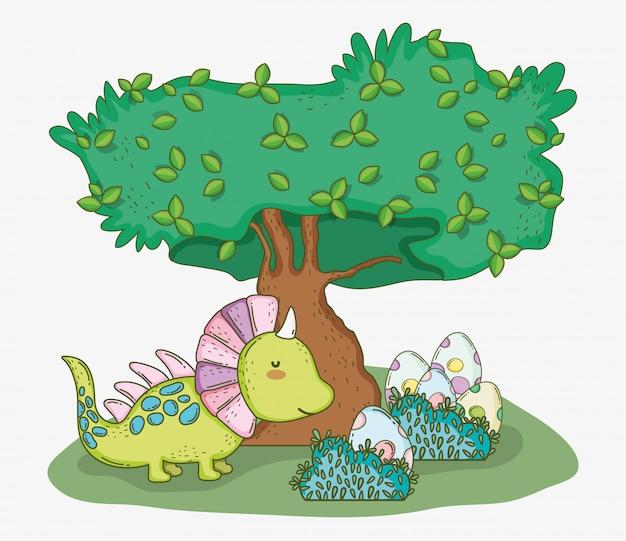 Styracosaurus carino con uova e albero di dino Vettore Premium