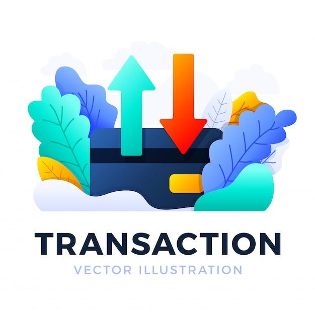 Su e giù le frecce illustrazione di vettore della carta di credito isolata. il concetto di trasferimento di dati, transazioni di un conto bancario. lato posteriore di una carta di credito con due frecce. Vettore Premium