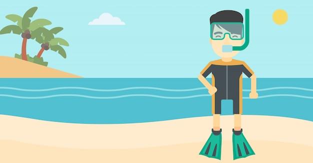 Subaqueo maschio sull'illustrazione di vettore della spiaggia. Vettore Premium