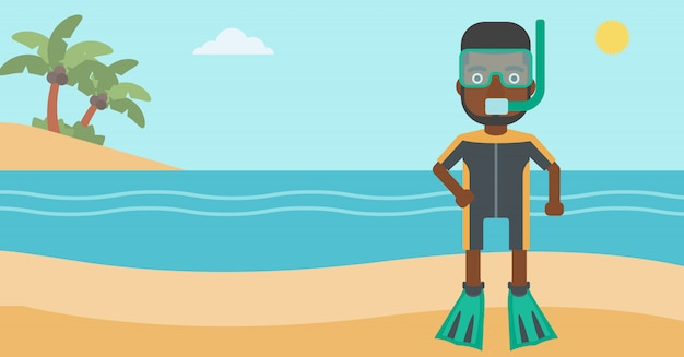Subaqueo maschio sulla spiaggia Vettore Premium