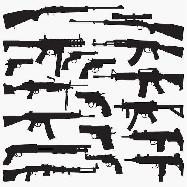 Submachine guns silhouettes Vettore Premium