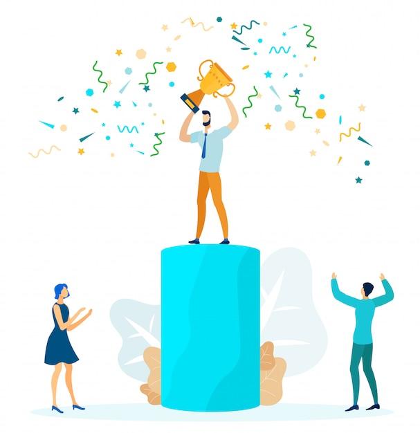 Successo aziendale, illustrazione vettoriale leadership Vettore Premium