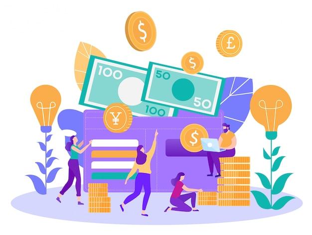 Successo finanziario e concetto di vettore piatto di risparmio Vettore Premium
