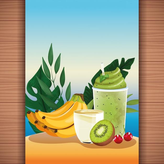Succo di frutta tropicale estate rinfrescante Vettore gratuito