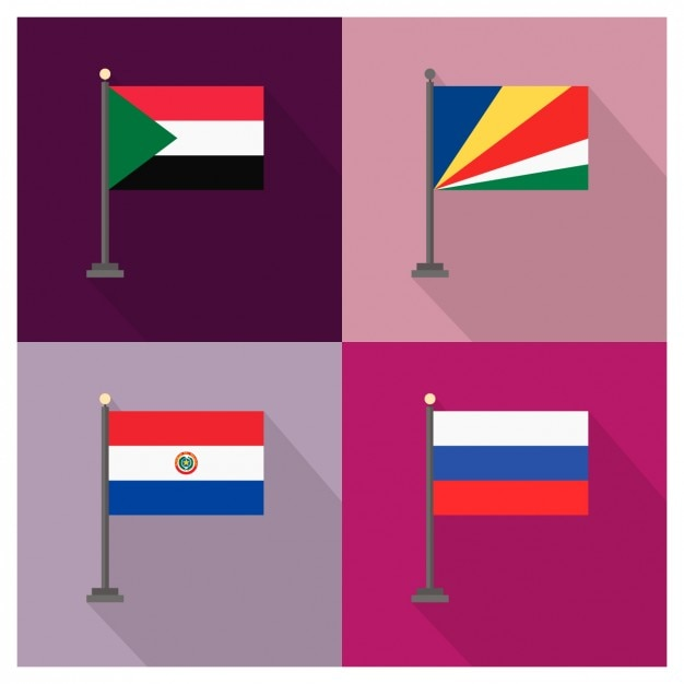 Sudan seychelles paraguay e russia bandiere Vettore gratuito