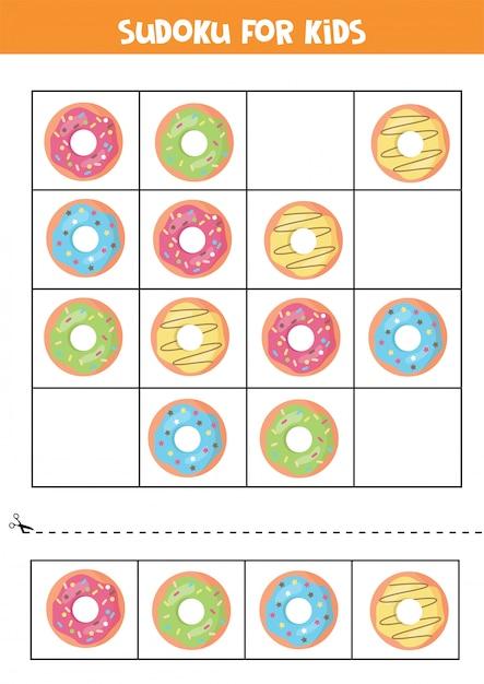 Sudoku per bambini con ciambelle di cartone animato. gioco logico per bambini in età prescolare. Vettore Premium