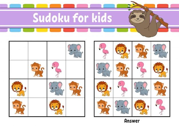 Sudoku per bambini. Vettore Premium
