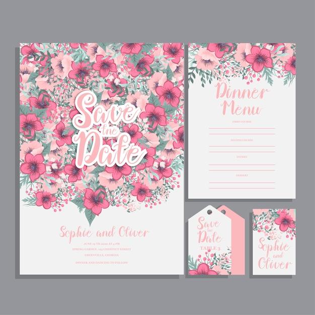 Suite di carte invito a nozze con fiore Vettore gratuito