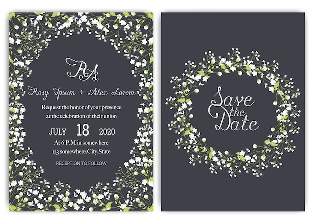 Suite di carte invito a nozze con fiori margherita. Vettore Premium