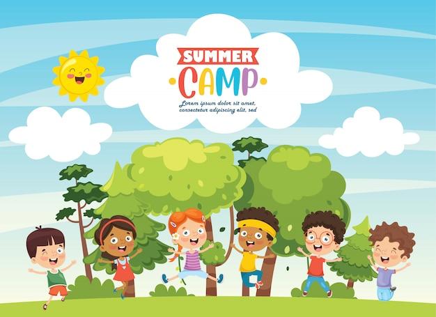Summer camp kids Vettore Premium