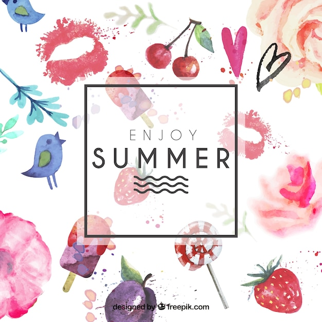 Summer card dipinto a mano Vettore gratuito