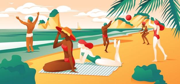 Summer day beach cartoon people gioca a pallavolo Vettore Premium
