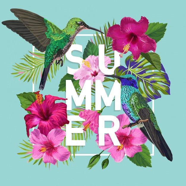 Summer floral poster with hummingbird Vettore Premium
