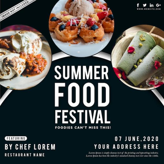 Summer food festival poster Vettore Premium