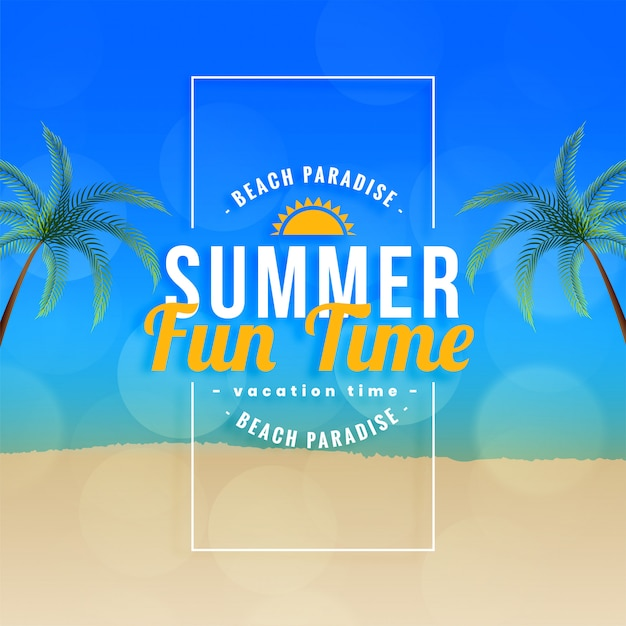 Summer fun time beach paradiso sullo sfondo Vettore gratuito