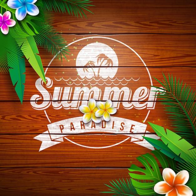 Summer paradise holiday design con fiori e piante tropicali Vettore gratuito