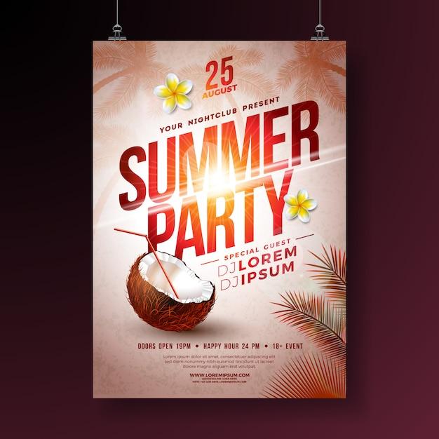 Summer party flyer con fiori e cocco Vettore Premium