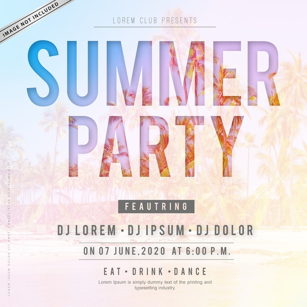 Summer party poster Vettore Premium