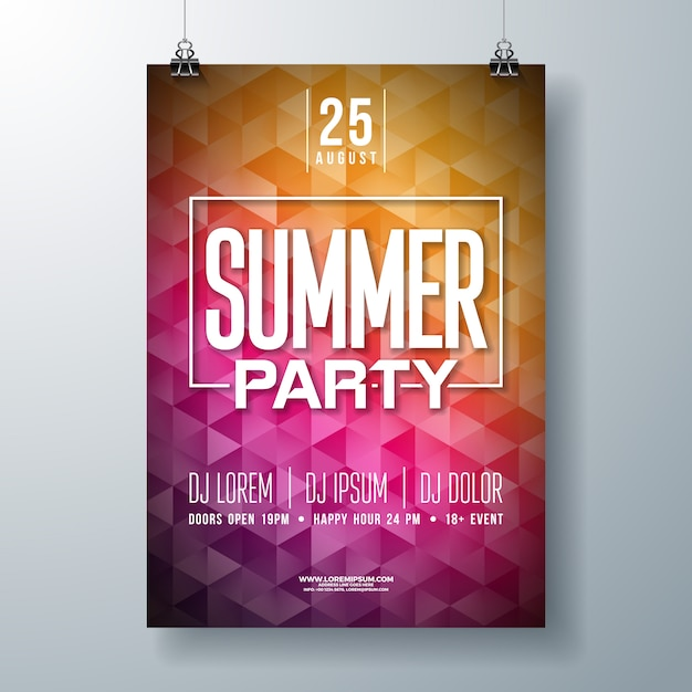 Summer party volantino o poster modello design con tipografia e stile moderno Vettore gratuito